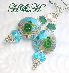 Sea Turtle Lampwork Earrings Lampwork Earrings by hhjewelrydesigns, $35.00