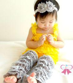 3pcs Petti Romper set Yellow Grey Lace Petti by HappyBOWtique, $42.99