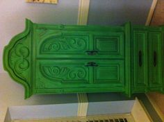 Upcycled 60s armoire in Annie Sloan Antibes Green with dark wax