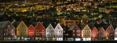 The colourful wooden buildings of the hanseatic era wharves at Bryggen in Bergen, Norway, December Wooden Buildings, Night Photography, Bergen, Norway, Art Prints, Architecture, World, Winter, Art Impressions