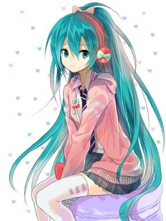 miku hatsune! She's wearing on of her outfits from the video game project diva f!!!