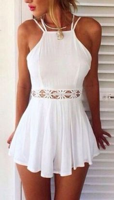 Beautiful flowing white halter top. Spliced with crocheted flowers, playsuit heaven