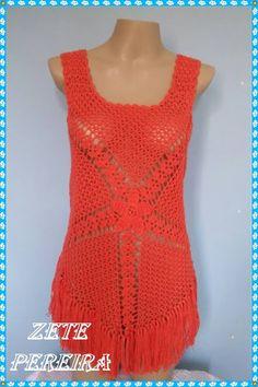 blusa em crooche, blusas, regatas, regata em croche, regata em croche feita atraves de video aula de Claudete Azevedo