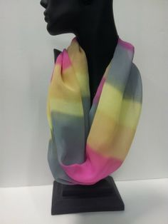 Badass Bling  » Infinity Scarf – Grey, Pink, Yellow