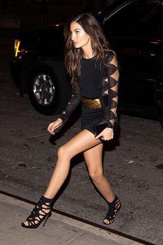 #LilyAldridge wears #Balmain Spring/Summer 2016 to attend the 2015 Victoria's Secret Fashion Show party in NY. #BalmainARMY #VSFashionShow