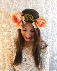 Statement flower crown. Big floral headband. Flower crown. Bridal headpiece. Maternity. Bride. Wedding. Flower accessory. Hairpiece. Bridal accessory. Flower crown adult  A personal favorite from my Etsy shop https://www.etsy.com/listing/493458735/statement-flower-crown-big-floral