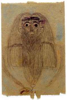 Hermann Beehle's drawing on a scrap of toilet paper, Prinzhorn Collection