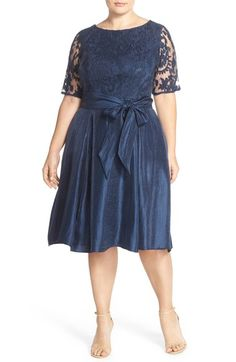 1c5b79cdd0014 Adrianna Papell Embroidered Overlay Mikado Party Dress (Plus Size)