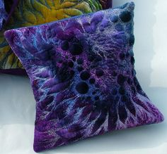 Purple Cushion by Rosie Logan available at http://www.creativeartsgallery.com/arts-with-style/textiles/purple-cushion/ - £145