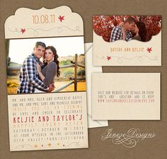 Fall Wedding Invitation Boutique Tri Folded Photo by Jeneze Designs Cute Wedding Ideas, Diy Wedding, Dream Wedding, Fall Wedding Invitations, Wedding Invitation Design, Renewal Wedding, Vintage Fall, October Wedding, Wedding Cards