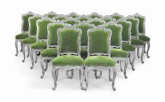 A set of twenty Louis xv-style silver-painted dining chairs 20th century, covered in green lelievre mohair velvet #lestroisgarcons