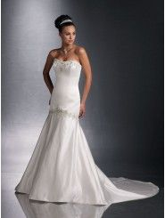 Satin Softly Curved Neckline Curved Back Bodice Mermaid Wedding Dress