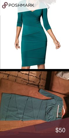 Instantly Slimming White House Black Market Teal Labeled size zero, but WHBM sizes run big. Will fit a size 4 without a doubt! This dress would be great for a formal event. Super flattering/slimming. Zips up back! White House Black Market Dresses Midi