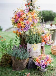 masses of wildflowers for an outdoor wedding