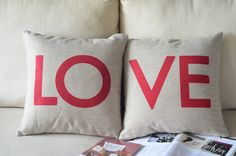 These mixed in with the red stripped pillows? set of two cotton linen Fabrics shade pillow pillow sham LOVE printed Pillow Cover pillow pattern red cushion cover case pillowcase Decorative Pillow Cases, Throw Pillow Cases, Pillow Covers, Throw Pillows, Cushion Pillow, Printed Cushions, Cushions On Sofa, Linen Pillows, Linen Fabric