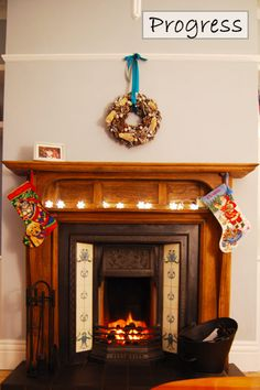 Edwardian Fireplace After - lights for Xmas