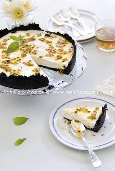 Cheesecake de chinola (maracuya) y chocolate / Passion fruit and chocolate cheesecake