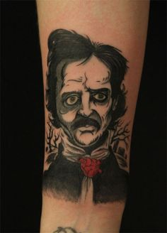 """...my portrait of the father of horror, Edgar Allan Poe, my hero (portrait was done by David Tran, Moss Norway). I love  Mr. Poe's work, especially """"The Tell-Tale Heart"""" and """"The Black Cat"""". Lets be honest, Edgar was not a very handsome man, but he was a brilliant man, so I did not get his portrait printed on my skin forever 'cos of his looks. I got his portrait done 'cos, not only do I love his work, I admire him 'cos he managed to live a life which was full of pain. I used to feel sorry…"""