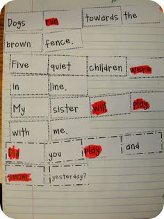 Sentence/Verb hands-on activity