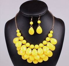 Fashion-Women-Bib-Statement-Vintage-Necklace-Earring-Jewelry-Chunky-Collar-Party