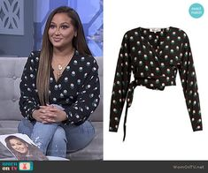 Adrienne's black printed wrap top on The Real Chill Outfits, New Outfits, Fashion Outfits, Fashion Trends, Work Outfits, Adrienne Bailon The Real, Lauren London, Wrap Blouse, Print Wrap