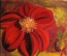 Dahlie Original Ölgemälde 28x30cm Leinwand von Blumenmalerei, €32,00