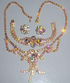 Vintage Juliana AB Chaton Rhinestone Necklace --Bracelet & Earring Set
