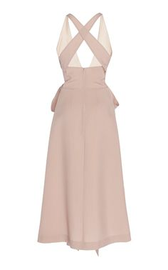 Rochas' 'Ocean' lightweight Japanese wool dress has a plunging V-neckline with a sleeveless bodice, detailed waistline with scarf panels and a crisscross back. Wool Dress, I Dress, High Class, Bodice, Cute Outfits, Two Piece Skirt Set, Dresses For Work, Suit Vest, Fancy