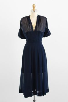 1940s dress / 40s dress / Sheer Navy Blue Swing Dress with Lace Neckline