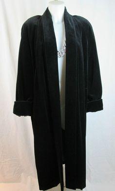 JS Collections Black Velvet Coat Full Length Opera Long Jacket Shawl Collar L #Collections #BasicCoat
