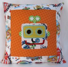 Robot Cushion / Pillow for boys in orange with by LaLaLaDesigns, $25.00