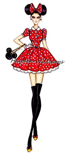 Hayden Williams Fashion Illustrations: The Disney Diva's collection by Hayden Williams: Minnie Mouse