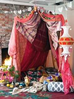 spiritual tenting spaced | When I speak of ecclectic this is more my style, ikat fabrics, pom ...