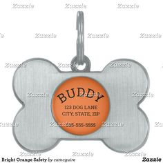 Shop Bright Orange Safety Pet ID Tag created by camcguire. Customizable Gifts, Customized Gifts, Holiday Cards, Christmas Cards, Pet Id Tags, Pet Names, Pet Gifts, White Elephant Gifts, Vibrant Colors
