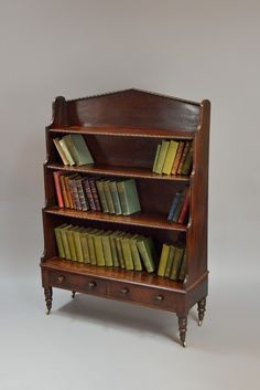 Regency mahogany Irish waterfall bookcase with graduated shelves. All Wood Furniture, Custom Furniture, Furniture Design, Built In Bookcase, Bookcases, Metal Tv Stand, Witch Room, Home Library Design, Vintage Stoves