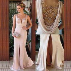 Sheath Sleeveless Natural Beading Sweep/Brush Train Prom Dresses 2017