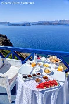 Astarte Suites Hotel #Santorini #Greece #breakfast #summer #blue