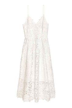 Lace dress  Calf-length lace dress with a V-neck f54a65dbf