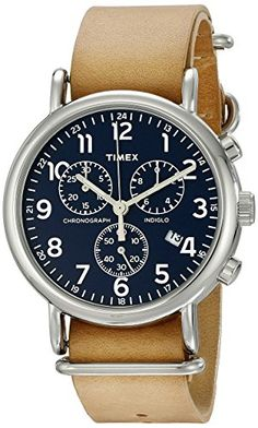 Timex Unisex Weekender Chrono Oversize Tan Leather Slip-Thru Strap Watch: You just found the only watch you'll ever need. A timeless chronograph that let's you change up leather and nylon straps for the season, the occasion or even your mood. Amazing Watches, Cool Watches, Watches For Men, Wrist Watches, Stylish Watches, Daniel Wellington, Cartier, Fossil, Best Valentine's Day Gifts