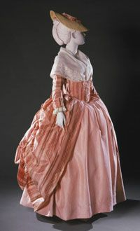 Light pink striped silk taffeta robe à la française with attached stomacher, French, c. 1765-80. Light pink silk taffeta, woven with multicolored shaded stripes in dark pinks, medium greens, grey, and yellow (French); bodice and sleeves lined with coarse grayish-white plain weave linen; cuffs lined with white plain weave wool flannel; stitched in pink silk thread; two original metal eyes on stomacher panels.