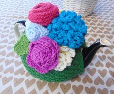 Hand Knitted Flower Tea Cosy by LittleDaisyKnits on Etsy