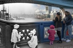 Tower Bridge - London Now and Then -  Tower Bridge with a view of the Thames is pictured in about 1920 and in 2014....I think this one is my favourite!