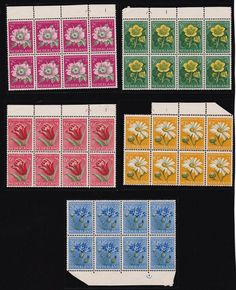 """Netherlands 1952 """"Relief Fund"""" Flower set in blocks of 8 MNH SG 749-53 £245+ http://spain-travel-now.info/sn/re/?query=291588421129…"""