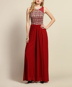 Loving this Cranberry Embroidered Sheer-Back Jumpsuit on #zulily! #zulilyfinds