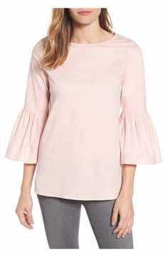 Gibson Bell Sleeve Poplin Dusty Pink Trendy Blouse from Nordstrom's, $38. This is such a popular, well constructed top! Enjoy RUSHWORLD boards, BUDGET PRINCESS COUTURE, UNPREDICTABLE WOMEN HAUTE COUTURE and WEDDING GOWN HOUND. Follow RUSHWORLD! We're on the hunt for everything you'll love!  #Nordstrom #Nordstroms #WhatToWear #UnpredictableWomenHauteCouture #CuteTops