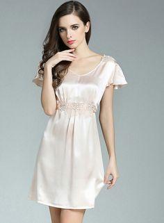 a7d859c06 Women s Pure Mulberry Silk Flounce Sleeve Nightgown - FANCYSILKSLEEP.COM