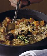 Arròs caldòs amb ànec,moniato i carabassa.