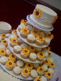 Wedding cake with cupcakes. Sunflower themed. Creative Memories, Inc.