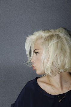Platinum hair + dark brows