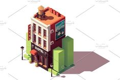 Vector isometric old hotel building with neon sign and travel related advertising on the billboard Hotel Concept, Isometric Design, Brochure Template, Game Design, Billboard, Graphic Illustration, Tourism, Neon Signs, Graphic Design